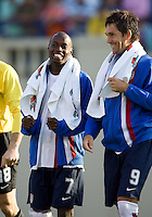 DaMarcus Beasley and Ante Razov smile after the game. The USA defeated China, 4-1, in an international friendly at Spartan Stadium, San Jose, CA on June 2, 2007.