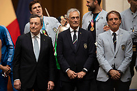 The Italian Premier Mario Draghi, the president of FIGC Gabriele Gravina and Italy trainer Roberto Mancini during the official visit of the football Italy National team, after winning the UEFA Euro 2020 Championship.<br /> Rome (Italy), July 12th 2021<br /> Photo Pool Augusto Casasoli Insidefoto