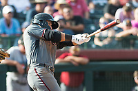 Salt River Rafters designated hitter Daulton Varsho (8), of the Arizona Diamondbacks organization, swings at a pitch during the Arizona Fall League Championship Game against the Peoria Javelinas at Scottsdale Stadium on November 17, 2018 in Scottsdale, Arizona. Peoria defeated Salt River 3-2 in 10 innings. (Zachary Lucy/Four Seam Images)