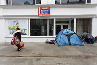 Pictured: Tents owned by homeless people in Newport city centre, Wales, UK. Thursday 14 February 209<br /> Re: The city of Newport is preparing to host the FA Cup match between Newport County and Manchester City at Rodney Parade, Newport, Wales, UK.