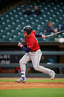 Columbus Clippers right fielder Jordan Smith (13) bats during a game against the Louisville Bats on May 1, 2017 at Louisville Slugger Field in Louisville, Kentucky.  Columbus defeated Louisville 6-1  (Mike Janes/Four Seam Images)