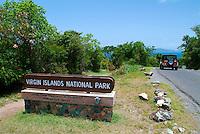 Virgin Islands National Park sign<br /> At the entrance to the park<br /> St John<br /> US Virgin Islands