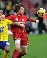 KV Kortrijk - St-Truiden VV.duel om de bal tussen Leon Benko (rechts) en Denis Odoi (links).foto VDB / BART VANDENBROUCKE