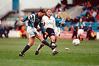 Match action in front of a new British record crowd of 4,917 during England Women vs Germany Women, World Cup Qualifying Football at the New Den, Millwall FC, London, Britain on 8th March 1998