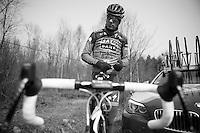 Paris-Roubaix 2013 RECON at Bois de Wallers-Arenberg.<br /> Michael Mørkøv (DNK) tinkering with his saddle