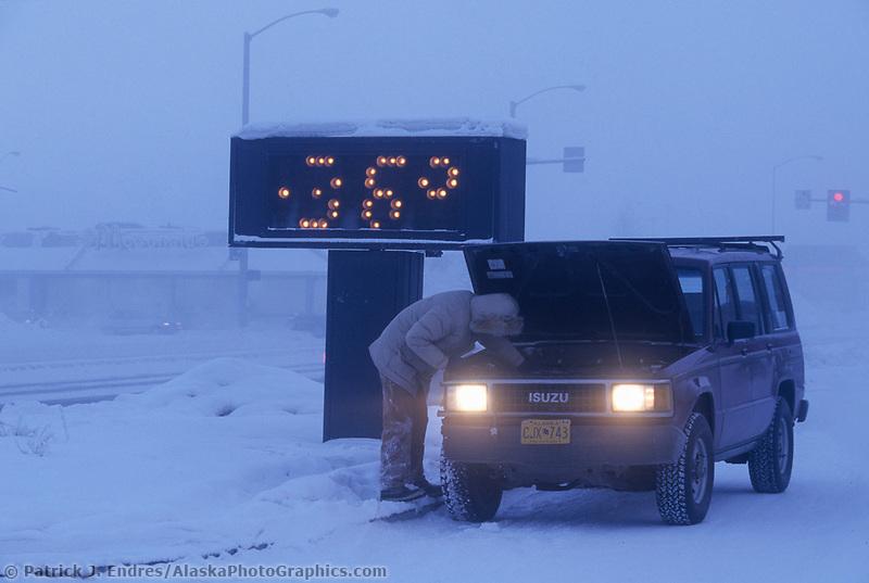 Broken down vehicle in minus 36 degree temperatures, Fairbanks, Alaska