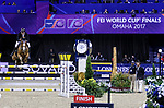 OMAHA, NEBRASKA - MAR 30: Guido Klatte jun. rides Qinghai during the FEI World Cup Jumping Final II at the CenturyLink Center on March 31, 2017 in Omaha, Nebraska. (Photo by Taylor Pence/Eclipse Sportswire/Getty Images)