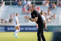 CARY, NC - SEPTEMBER 12: Portland Thorns head coach Mark Parsons gives instructions during a game between Portland Thorns FC and North Carolina Courage at Sahlen's Stadium at WakeMed Soccer Park on September 12, 2021 in Cary, North Carolina.