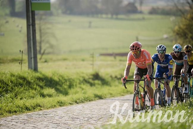 Greg VAN AVERMAET (BEL/CCC) followed by Zdenek Stybar (CZE/Deceuninck-Quick Step), Oliver Naesen (BEL/AG2R-La Mondiale) & Wout Van Aert (BEL/Jumbo-Visma) up the Paterberg<br /> <br /> 62nd E3 BinckBank Classic (Harelbeke) 2019 <br /> One day race (1.UWT) from Harelbeke to Harelbeke (204km)<br /> <br /> ©kramon