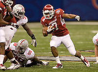 Knile Davis of Arkansas in action against Ohio State during 77th Annual Allstate Sugar Bowl Classic at Louisiana Superdome in New Orleans, Louisiana on January 4th, 2011.  Ohio State defeated Arkansas, 31-26.