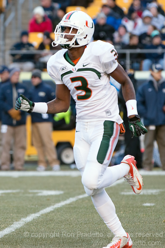 Miami wide receiver Stacy Coley celebrates his 34-yard touchdown catch. The Miami Hurricanes defeated the Pitt Panthers 41-31 at Heinz Field, Pittsburgh, Pennsylvania on November 29, 2013.