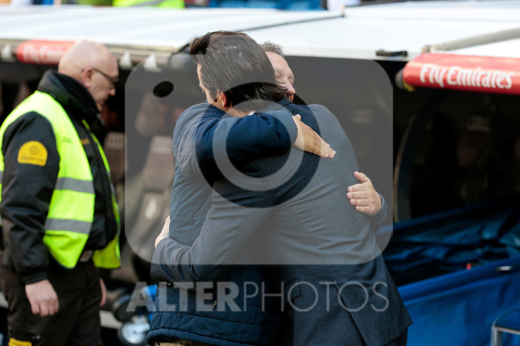 Real Madrid's coach Santiago Solari and Girona FC's coach Eusebio Sacristan during La Liga match between Real Madrid and Girona FC at Santiago Bernabeu Stadium in Madrid, Spain. February 17, 2019. (ALTERPHOTOS/A. Perez Meca)