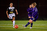 Aalst's forward Daisy Boudewijns (L) and Anderlecht midfielder Charlotte Tisson (20)(R) in action during a female soccer game between RSC Anderlecht Dames and Eendracht Aalst Ladies  on the fourth matchday of the 2020 - 2021 season of Belgian Womens Super League , Tuesday 13 th of October 2020  in ANDERLECHT , Belgium . PHOTO SPORTPIX.BE | SPP | STIJN AUDOOREN