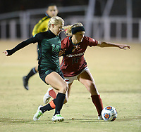 NWA Democrat-Gazette/ANDY SHUPE<br /> Arkansas' Stefani Doyle (right) sends the ball past North Texas' Logan Bruffett (14) Friday, Nov. 15, 2019, during the second half of play in the first round of the NCAA women's soccer tournament at Razorback Field in Fayetteville. Visit nwadg.com/photos to see more photographs from the match.