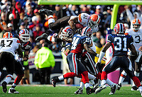 11 October 2009: Cleveland Browns' running back Jamal Lewis leaps high for a nine-yard gain in the fourth quarter against the Buffalo Bills at Ralph Wilson Stadium in Orchard Park, New York. The Browns defeated the Bills 6-3 for Cleveland's first win of the season...Mandatory Photo Credit: Ed Wolfstein Photo