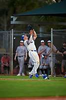 South Dakota State Jackrabbits first baseman Josh Falk (19) catches a popup during a game against the Northeastern Huskies on February 23, 2019 at North Charlotte Regional Park in Port Charlotte, Florida.  Northeastern defeated South Dakota State 12-9.  (Mike Janes/Four Seam Images)