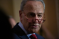 United States Senate Minority Leader Chuck Schumer (Democrat of New York) speaks to the media following Democratic Senate luncheons on Capitol Hill in Washington D.C., U.S., on Tuesday, November 5, 2019.<br />  <br /> Credit: Stefani Reynolds / CNP /MediaPunch