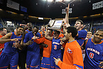 The Bishop Gorman Gaels celebrate after defeating Hug High School 96-51 for the NIAA 4A State Basketball Championship, at Lawlor Events Center, in Reno, Nev, on Friday, Feb. 24, 2012. .Photo by Cathleen Allison