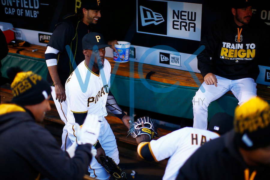 Andrew McCutchen #22 of the Pittsburgh Pirates dances in the dugout prior to the game against the St. Louis Cardinals at PNC Park in Pittsburgh, Pennsylvania on April 5, 2016. (Photo by Jared Wickerham / DKPS)