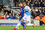 Sidnei da Silva Junior of RC Deportivo La Coruna (R) fights for the ball with Lionel Messi of FC Barcelona (L) during the La Liga 2017-18 match between FC Barcelona and Deportivo La Coruna at Camp Nou Stadium on 17 December 2017 in Barcelona, Spain. Photo by Vicens Gimenez / Power Sport Images