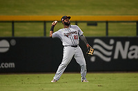 Scottsdale Scorpions left fielder Trey Harris (22), of the Atlanta Braves organization, during an Arizona Fall League game against the Mesa Solar Sox on September 18, 2019 at Sloan Park in Mesa, Arizona. Scottsdale defeated Mesa 5-4. (Zachary Lucy/Four Seam Images)