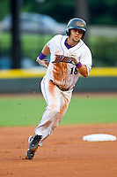 Joey DeMichele (18) of the Winston-Salem Dash rounds the bases during the Carolina League game against the Lynchburg Hillcats at BB&T Ballpark on August 5, 2013 in Winston-Salem, North Carolina.  The Dash defeated the Hillcats 5-0.  (Brian Westerholt/Four Seam Images)