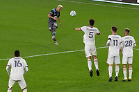 ST PAUL, MN - SEPTEMBER 27: Emanuel Reynoso #10 of Minnesota United FC with the free kick over the Real Salt Lake wall during a game between Real Salt Lake and Minnesota United FC at Allianz Field on September 27, 2020 in St Paul, Minnesota.
