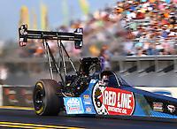 Mar 15, 2015; Gainesville, FL, USA; NHRA top fuel driver J.R. Todd during the Gatornationals at Auto Plus Raceway at Gainesville. Mandatory Credit: Mark J. Rebilas-