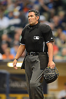 Umpire Manny Gonzalez during a game between the Milwaukee Brewers and Los Angeles Dodgers at Miller Park on May 22, 2013 in Milwaukee, Wisconsin.  Los Angeles defeated Milwaukee 9-2.  (Mike Janes/Four Seam Images)
