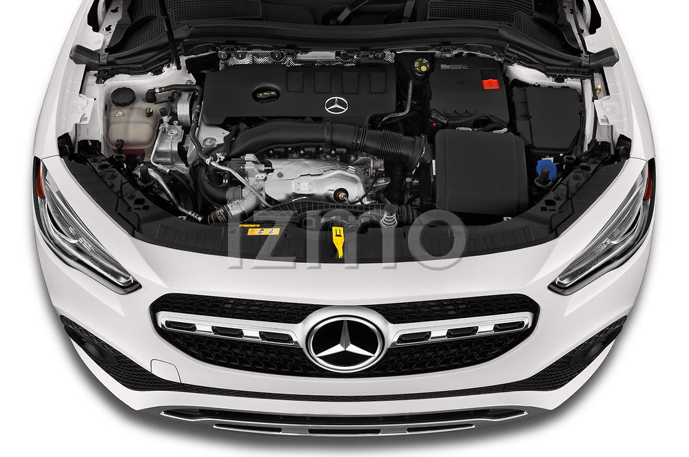 Car Stock 2021 Mercedes Benz GLA GLA250 5 Door SUV Engine  high angle detail view