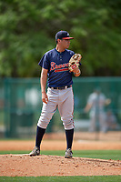 Atlanta Braves Anthony Guardado (7) during a minor league Spring Training game against the Detroit Tigers on March 25, 2017 at ESPN Wide World of Sports Complex in Orlando, Florida.  (Mike Janes/Four Seam Images)