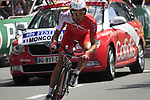 David Moncoutie (FRA) Cofidis in action during the Prologue of the 99th edition of the Tour de France 2012, a 6.4km individual time trial starting in Parc d'Avroy, Liege, Belgium. 30th June 2012.<br /> (Photo by Eoin Clarke/NEWSFILE)