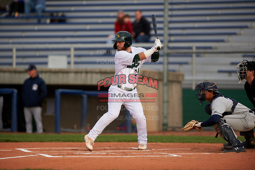 Beloit Snappers designated hitter Payton Squier (24) during a Midwest League game against the Lake County Captains at Pohlman Field on May 6, 2019 in Beloit, Wisconsin. Lake County defeated Beloit 9-1. (Zachary Lucy/Four Seam Images)