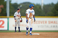 Kevon Jackson (11) of the Burlington Royals takes his lead off of second base against the Danville Braves at Burlington Athletic Stadium on July 13, 2019 in Burlington, North Carolina. The Royals defeated the Braves 5-2. (Brian Westerholt/Four Seam Images)