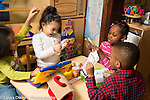 Education Preschool 4 year olds group pretend play at table shopping and other transactions