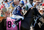 ARLINGTON HEIGHTS, IL - AUGUST 13: Personal Diary #8, ridden by Mike E. Smith, during the post parade before the Beverly D. Stakes at Arlington International Racecourse on August 13, 2016 in Arlington Heights, Illinois. (Photo by Jon Durr/Eclipse Sportswire/Getty Images)