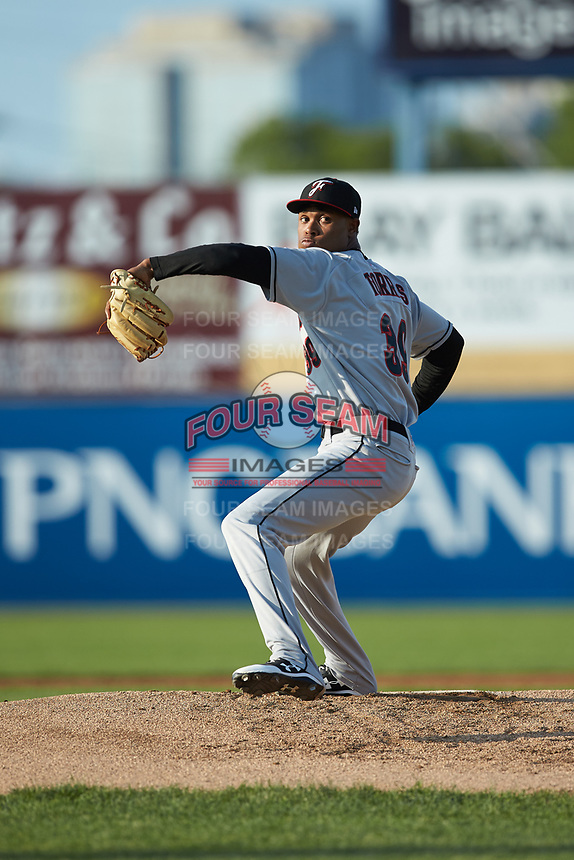 Fayetteville Woodpeckers starting pitcher Jojanse Torres (39) in action against the Wilmington Blue Rocks at Frawley Stadium on June 6, 2019 in Wilmington, Delaware. The Woodpeckers defeated the Blue Rocks 8-1. (Brian Westerholt/Four Seam Images)