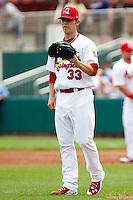 Michael Blazek (33) of the Springfield Cardinals during a game against the Arkansas Travelers on May 10, 2011 at Hammons Field in Springfield, Missouri.  Photo By David Welker/Four Seam Images.