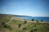 peloton riding along the Turkish coast <br /> <br /> Tour of Turkey 2014<br /> stage 7