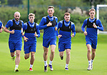 St Johnstone Training....   Jamie McCart pictured alongside Chris Kane, Reece Devine, James Brown and Hayden Muller during training at McDiarmid Park ahead of Saturday's game against Rangers.<br />Picture by Graeme Hart.<br />Copyright Perthshire Picture Agency<br />Tel: 01738 623350  Mobile: 07990 594431