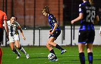 Brugge's Marie Minnaert pictured in front of defending defender Noemie Fourdin of Sporting Charleroi during a female soccer game between Sporting Charleroi and Club Brugge YLA on the fourth matchday of the 2020 - 2021 season of Belgian Scooore Womens Super League , friday 9 nd of October 2020  in Marcinelle , Belgium . PHOTO SPORTPIX.BE | SPP | DAVID CATRY