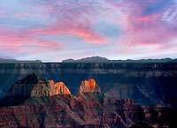 Last light and sunset over Grand Canyon National Park. North Rim, Arizona
