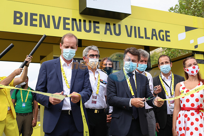 Inauguration of the Tour Villagein Nice with Christian Estrosi, Mayor of Nice, Bernard Gonzalez, Prefet des Alpes-Maritimes, Christian Prudhomme Tour Director and Bernard Thevenet ASO before Stage 1 of Tour de France 2020, running 156km from Nice Moyen Pays to Nice, France. 29th August 2020.<br /> Picture: ASO/Jonathan Biche | Cyclefile<br /> All photos usage must carry mandatory copyright credit (© Cyclefile | ASO/Jonathan Biche)