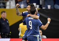 Houston, TX - Tuesday June 21, 2016: Ezequiel Lavezzi, Gonzalo Higuain during a Copa America Centenario semifinal match between United States (USA) and Argentina (ARG) at NRG Stadium.