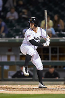 Daniel Palka (5) of the Charlotte Knights at bat against the Scranton/Wilkes-Barre RailRiders at BB&T BallPark on April 12, 2018 in Charlotte, North Carolina.  The RailRiders defeated the Knights 11-1.  (Brian Westerholt/Four Seam Images)