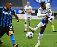 Sampdoria's Keita Balde, right, kicks the ball as he is challenged by Inter Milan's Danilo D'Ambrosio during their Italian Serie A football match at Milan's Giuseppe Meazza stadium, May 8, 2021.<br /> UPDATE IMAGES PRESS/Isabella Bonotto