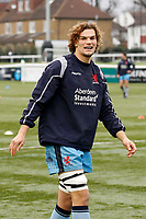 Theo Vukasinovic of London Scottish warming up during the Greene King IPA Championship match between Ealing Trailfinders and London Scottish Football Club at Castle Bar , West Ealing , England  on 19 January 2019. Photo by Carlton Myrie/PRiME Media Images