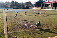 General view of Ferryhill Athletic scoring from the penalty spot at Darlington FC Football Ground, Feethams, Victoria Embankment, Darlington, County Durham, pictured on 14 November 1987