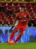 BOGOTA - COLOMBIA - 09 – 05 - 2017: Jean Becerra, jugador de Cortulua, en acción, durante partido de la fecha 17 entre Millonarios y Cortulua, por la Liga Aguila I-2017, jugado en el estadio Nemesio Camacho El Campin de la ciudad de Bogota. / Jean Becerra, player of Cortulua, in action during a match of the date 17th between Millonarios and Cortulua, for the Liga Aguila I-2017 played at the Nemesio Camacho El Campin Stadium in Bogota city, Photo: VizzorImage / Luis Ramirez / Staff.