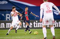 9th January 2021, Paris, France; French League 1 football, St. Germain versus Stade Brest;  ANGEL DI MARIA PSG and PAUL LASNE BRE
